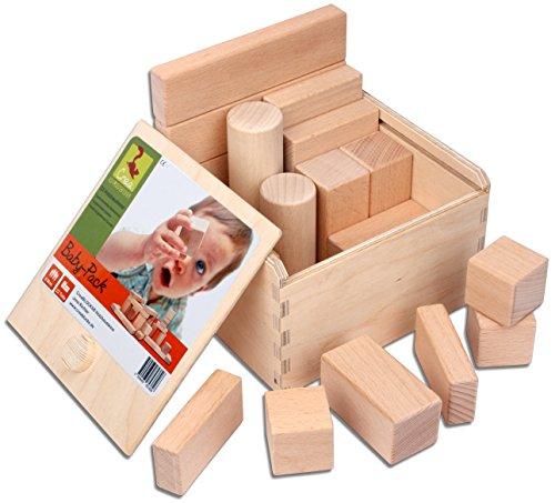 CreaBLOCKS Holzbausteine Baby-Pack (22 Bauklötze unbehandelt) Holzbauklötze für Kleinkinder ab 6 Monate Holzklötze naturbelassen - 1