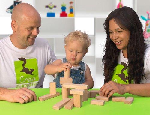 CreaBLOCKS Holzbausteine Baby-Pack (22 Bauklötze unbehandelt) Holzbauklötze für Kleinkinder ab 6 Monate Holzklötze naturbelassen - 2