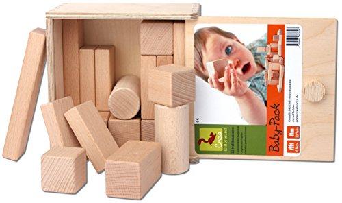 CreaBLOCKS Holzbausteine Baby-Pack (22 Bauklötze unbehandelt) Holzbauklötze für Kleinkinder ab 6 Monate Holzklötze naturbelassen - 3