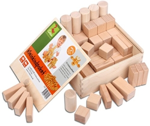 CreaBLOCKS Holzbausteine Kleinkindpaket - 54 unbehandelte Bauklötze ab 6 Monate, Holzbauklötze für Kleinkinder und Babys, Holzklötze - 1