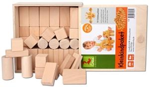CreaBLOCKS Holzbausteine Kleinkindpaket - 54 unbehandelte Bauklötze ab 6 Monate, Holzbauklötze für Kleinkinder und Babys, Holzklötze - 3