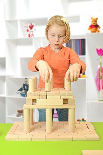 Holzbausteine Ergänzungspaket Keile, Säulen, Brücken (40 Bauklötze unbehandelt) - 3