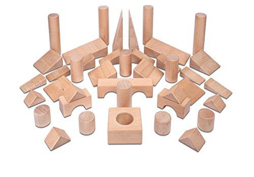 Holzbausteine Ergänzungspaket Keile, Säulen, Brücken (40 Bauklötze unbehandelt) - 4