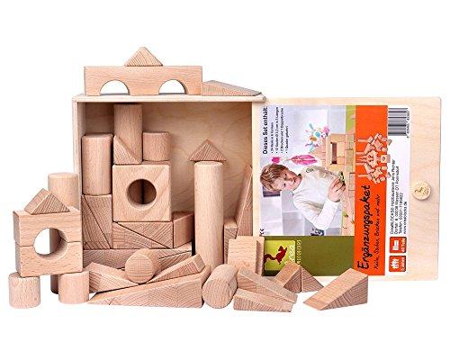 Holzbausteine Ergänzungspaket Keile, Säulen, Brücken (40 Bauklötze unbehandelt) - 5