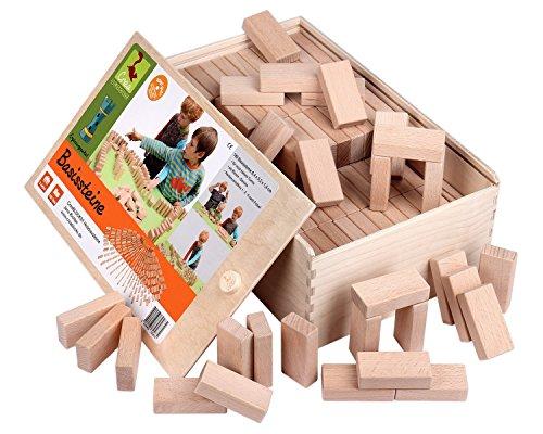 Holzbausteine Ergänzungspaket Basissteine (180 unbehandelte Bauklötze) - 1