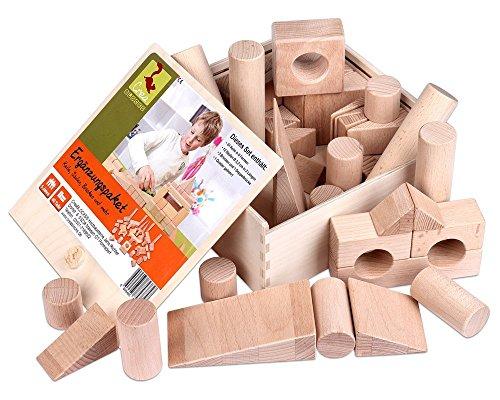 Holzbausteine Ergänzungspaket Keile, Säulen, Brücken (40 Bauklötze unbehandelt) - 1