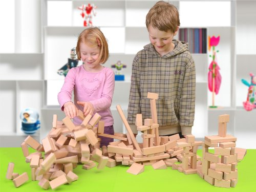 Holzbausteine Großes Komplettpaket (360 Bauklötze) inkl. Aufbew.-Kiste - 4