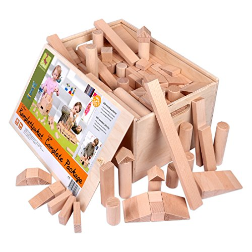 Holzbausteine Großes Komplettpaket (360 Bauklötze) inkl. Aufbew.-Kiste - 1