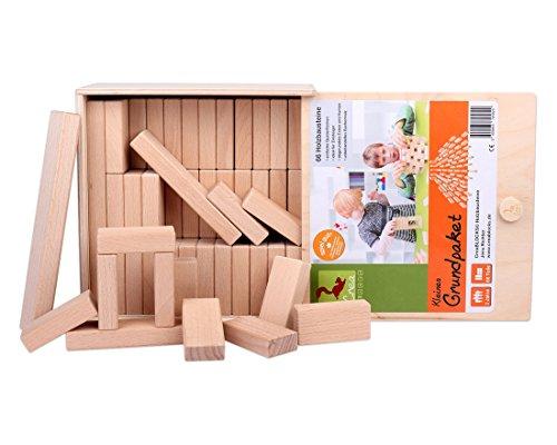 Holzbausteine Kleines Grundpaket (66 unbehandelte Bauklötze) - 5