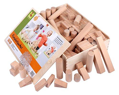 Holzbausteine Komplettpaket (164 Bauklötze unbehandelt) Holzbauklötze Made in Germany - 1