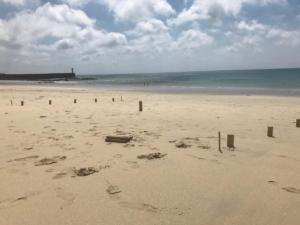 Wikingerschach/ Kubb Spielfeld am Strand